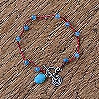 Chalcedony beaded charm bracelet, 'Sky Blue Fascination' - Chalcedony and Karen Silver Beaded Bracelet from Thailand