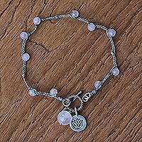 Rose quartz beaded charm bracelet,