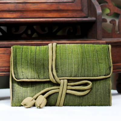 Silk blend jewelry roll, 'Enchanted Journey in Olive' - Hand Woven Silk and Rayon Blend Thai Jewelry Roll in Olive