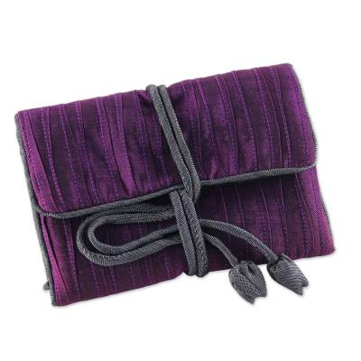 Silk blend jewelry roll, 'Enchanted Journey in Eggplant' - Handwoven Silk and Rayon Blend Thai Jewelry Roll in Eggplant