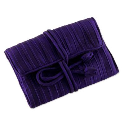 Silk blend jewelry roll, 'Enchanted Journey in Violet' - Hand Woven Silk and Rayon Blend Thai Jewelry Roll in Violet