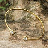 Gold plated blue topaz cuff bracelet, 'Thai Fashion' - 18k Gold Plated Blue Topaz Cuff Bracelet by Thai Artisans