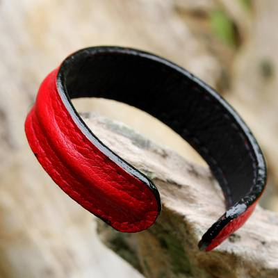 Leather cuff bracelet, 'Simply Red' - Hand Crafted Unisex Red Leather Cuff Bracelet from Thailand