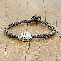 Silver pendant bracelet, 'Darling Elephant in Grey' - Karen Silver Elephant Bracelet in Grey from Thailand