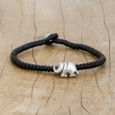 Silver pendant bracelet, 'Darling Elephant in Brown' - Karen Silver Elephant Bracelet in Brown from Thailand