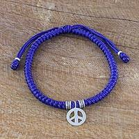 Silver wristband bracelet, 'Peaceful Charm in Blue' - Karen Silver Peace Wristband Bracelet in Blue from Thailand