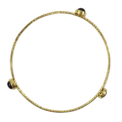 Artisan Crafted 18k Gold Plated Bangle with Black Onyx