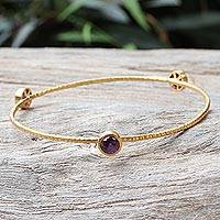 Gold plated amethyst bangle bracelet, 'Orbit of Beauty' - Artisan Crafted Modern Amethyst Bracelet Bathed in Gold