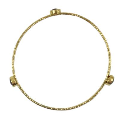 Handcrafted Garnet Bangle Bracelet Bathed in 18k Gold