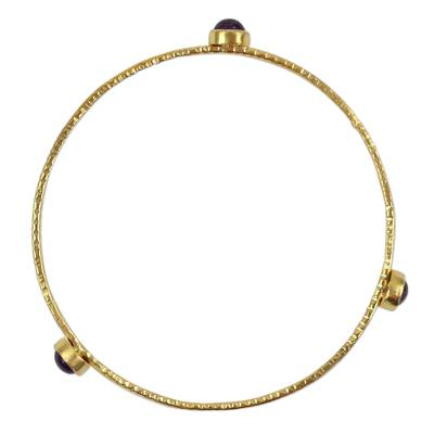 18k Gold Plated Thai Bangle Bracelet with Natural Iolite