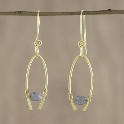 Gold plated labradorite dangle earrings, 'Enchanted Arches' - 18k Gold Plated Labradorite Dangle Earrings from Thailand