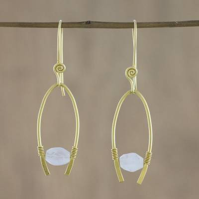 Gold plated rainbow moonstone dangle earrings, 'Enchanted Arches' - Gold Plated Rainbow Moonstone Dangle Earrings form Thailand