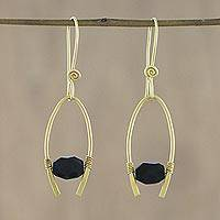 Gold plated onyx dangle earrings, 'Enchanted Arches' - 18k Gold Plated Onyx Arch Dangle Earrings from Thailand