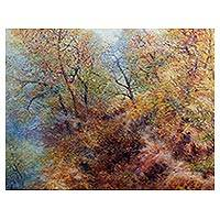 'Thai Autumn at Ob Khan' (2016) - Signed Stretched Impressionist Painting of Vibrant Trees