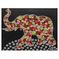 'Happy Time' - Signed Multicolored Cubist Painting of an Elephant