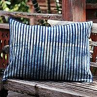 Cotton batik cushion cover, 'Contemporary Indigo' - Indigo and Cream Stripes on Handmade Cotton Cushion Cover