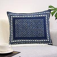 Cotton batik cushion cover, 'Indigo Floral Mosaic' - Indigo Floral Batik Mosaic on Handmade Cotton Cushion Cover