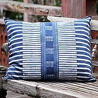 Cotton batik cushion cover, 'Urban Happiness' - Rectangular Cotton Batik Cushion Cover in Indigo and Cream