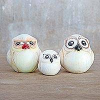 Ceramic home accents, 'Family of Owls' (set of 3) - Three Hand-Painted Ceramic Owl Home Accents from Thailand
