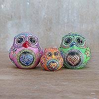 Ceramic home accents, 'Colorful Owl Family' (set of 3) - Three Hand-Painted Owl Home Accents from Thailand