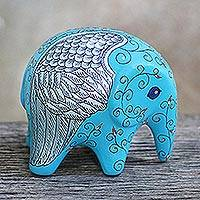 Ceramic figurine, 'Flying Elephant' - Blue Floral Ceramic Elephant Figurine from Thailand