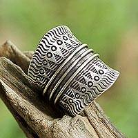 Sterling silver wrap ring, 'Great Geometry' - Sterling Silver Geometric Wrap Ring from Thailand