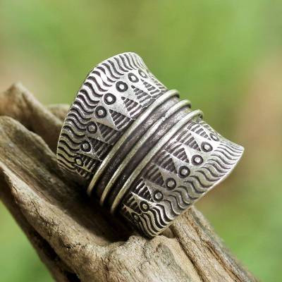 inexpensive custom made rings - Sterling Silver Geometric Wrap Ring from Thailand