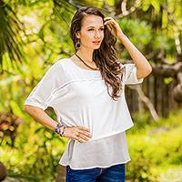 Chiffon blouse, 'Beautiful Day in Off-white' - Semi Sheer Off White Chiffon Blouse from Thailand