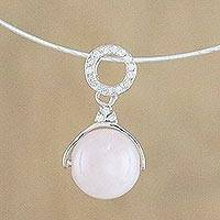 Rose quartz pendant necklace, 'Moonlight Grace' - Rose Quartz Minimalist Pendant Necklace from Thailand