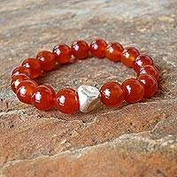 Carnelian beaded stretch bracelet, 'Nonconformist' - Beaded Carnelian and Karen Silver Bracelet from Thailand