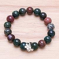 Agate beaded stretch bracelet, 'Intersection' - Beaded Agate and Karen Silver Bracelet from Thailand