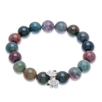 Beaded Agate and Karen Silver Bracelet from Thailand