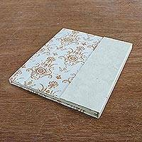 Saa paper journal, 'White Floral' - Brown on White Saa Paper Covered Journal from Thailand