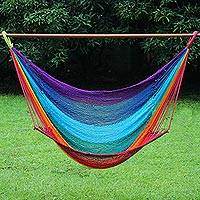 Cotton rope hammock swing, 'Time to Relax' (single) (Thailand)