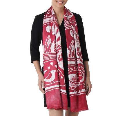 Batik rayon scarf, 'Bird Home in Cherry' - Batik Painted Bird Rayon Scarf in Cherry from Thailand
