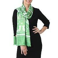 Batik rayon scarf, 'Bird Home in Lime' - Batik Painted Bird Rayon Scarf in Lime from Thailand