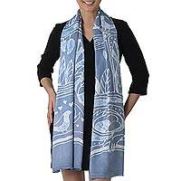 Batik rayon scarf, 'Bird Home in Cadet Blue' - Batik Painted Rayon Scarf in Cadet Blue from Thailand