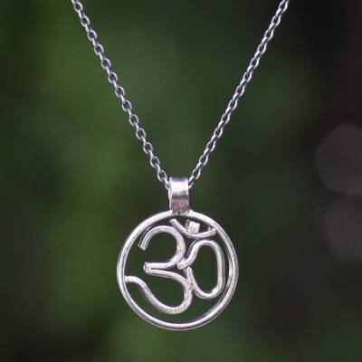 Sterling silver pendant necklace, 'Believe in Om' - Sterling Silver Om Pendant Necklace with Gold Accent