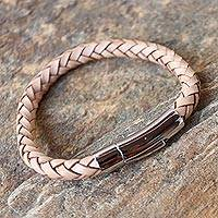 Leather wristband bracelet, 'Magical Braid in Beige' - Handcrafted Leather Braided Bracelet in Beige from Thailand