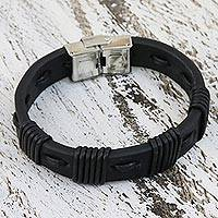 Leather wristband bracelet, 'Chiang Mai Party' - Handcrafted Black Leather Wristband Bracelet from Thailand