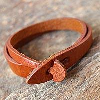 Leather wrap bracelet, 'Simple Creativity in Brown' - Handcrafted Leather Wrap Bracelet in Brown from Thailand