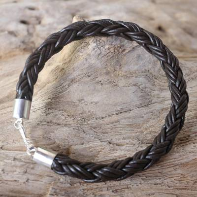 Mens leather bracelet, Sophisticated Braid