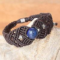 Silver and lapis lazuli braided bracelet,