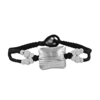 Karen 950 Silver Braided Pendant Bracelet from Thailand