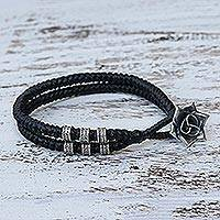 Silver wristband bracelet, 'Rosy Karen in Black' - Karen Silver Rose Wristband Bracelet in Black from Thailand