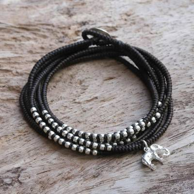 Silver wrap bracelet, 'Amazing Elephant in Brown' - Karen Silver Elephant Wrap Bracelet in Brown from Thailand