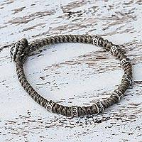 Silver accented wristband bracelet, 'Good Living' - Braided Wristband Bracelet with Karen Silver from Thailand