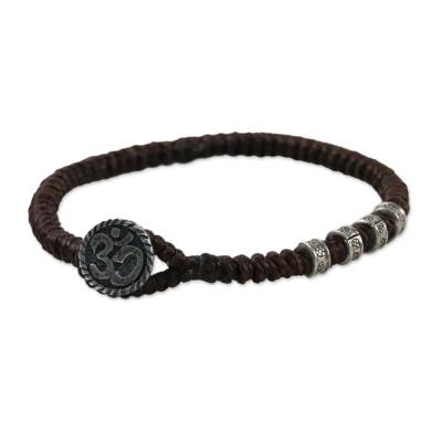 Artisan Crafted Brown Macrame Silver Om Button Wristband Bracelet