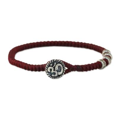 Karen Silver Om Wristband Bracelet in Red from Thailand