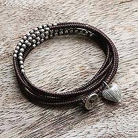 Silver accented wrap bracelet, 'Brown Hill Tribe Sweetheart' - 21-Inch Brown Cord Wrap Bracelet with Hill Tribe Silver